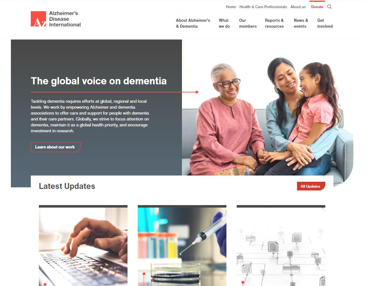 Screenshot of the ADI website